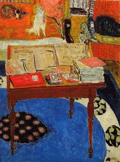 """Pierre Bonnard - """"La Table de travail (Work Table)"""" Oil on canvas, × cm, National Gallery of Art, Washington. Pierre Bonnard, Watercolor Artists, Oil Painting Abstract, Painting & Drawing, Painting Lessons, Watercolor Painting, Famous Impressionist Paintings, Indian Paintings, Oil Paintings"""
