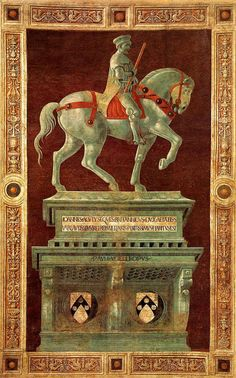 Paolo Uccello (Italian 1397–1475) [Early Renaissance] Equestrian Monument of Sir John Hawkwood, 1436. Fresco, 820 x 514 cm. Duomo. More info: http://theoppositeofamoth.blogspot.nl/2009/07/knight-of-dark-renown.html