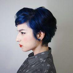 Royal blue hair.