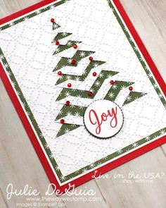 Lace Fold Christmas Card Using Stampin' Up Products Snow Is Happy New Year Homemade Christmas Cards, Stampin Up Christmas, Christmas Cards To Make, Xmas Cards, Homemade Cards, Handmade Christmas, Holiday Cards, Christmas Crafts, Christmas Holiday