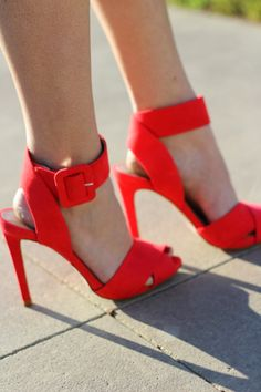 Red Ankle High Heel