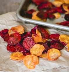 beet and sweet potato chips - Healthy Snack: Before you pick up a fattening potato chip bag - try these 3 recipes for baked beets, baked apples, and baked sweet potato chips.  #healthy #snacks #baking #chips #vegetables #fruit #wellness #recipes