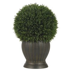 55.99. Nearly Natural Artificial Cedar Ball Topiary Silk Plant - Bottle Green/Brown