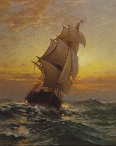 Sailing Ship on the Open Sea- Edward Moran. Sailing Ship on the Open Sea- Edward Moran. Edward Moran, Moby Dick, Old Sailing Ships, Sailing Boat, Art Gallery, Ship Paintings, Nautical Art, Tall Ships, Oeuvre D'art