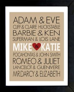VALENTINES DAY GIFT - Personalized Famous Couples Print -  You Choose the Couples and Colours - Makes a Great Wedding or Anniversary Gift. $16.00, via Etsy.