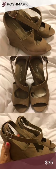 trying to downsize on my shoe closet Chinese Laundry Tan Wedges. Can be worn dressed up or down. Only worn once Chinese Laundry Shoes Wedges