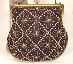 Vintage  French Black Moire Jeweled Purse With Great Frame