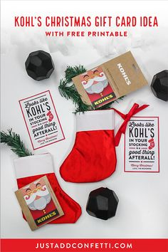 This Kohl's Christmas Gift Card Idea is so fun and cute! It's such an easy gift to assemble too. Just download the free printable tag from Just Add Confetti and pair it with a lump of coal stress ball, mini stocking and the Kohl's gift card! #giftcard #kohls #christmas #christmasgift #giftcard #giftcardgift #JustAddConfetti #giftideas #christmasgiftideas #kohlsgiftcard