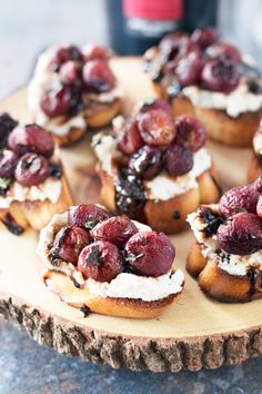 A bold sweet and savory appetizer, roasted grape crostini with a balsamic reduction and creamy ricotta is a wonderful winter bite.