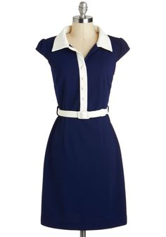 The Copywriting Stuff Dress - Blue, White, Solid, Work, Nautical, Vintage Inspired, Shirt Dress, Cap Sleeves, Spring, Belted, Buttons, Collared