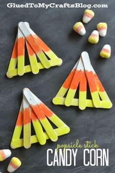 Popsicle Stick Candy Corn Kid Craft is part of Kids Crafts Halloween Candy Corn Popsicle Stick Candy Corn Kid Craft - Daycare Crafts, Classroom Crafts, Toddler Crafts, Preschool Crafts, Classroom Ideas, Kindergarten Classroom, Preschool Ideas, Teaching Ideas, Halloween Crafts For Kids