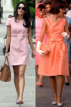 Amal Clooney and Jackie Kennedy wore similar pink day dresses. Jaqueline Kennedy, Jacqueline Kennedy Onassis, Amal Clooney, Prom Dress Shopping, Online Dress Shopping, Estilo Jackie Kennedy, Jackie Kennedy Costume, Iconic Dresses, Mein Style
