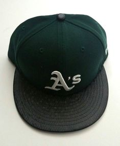 22ebbf6909b Details about Oakland A s New Era 59Fifty MLB Black Tile Visor Green Fitted  Hat Size 7 5 8