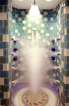 This is what I picture anytime you describe your perfect shower. It looks like a torture chamber to me.
