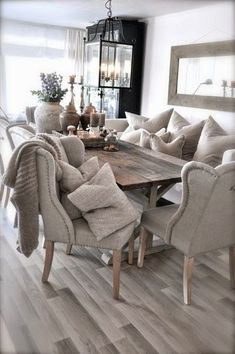 upholstered chairs with rustic table #diningroomfurniture