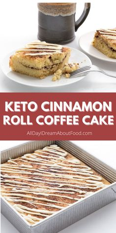 Two delicious breakfast treats in one! This tender keto coffee cake has all the wonderful flavors of a cinnamon roll, but so much easier to make. Sugar free and grain free. Free Keto Recipes, Healthy Low Carb Recipes, Low Carb Keto, Healthy Meals, Baking Recipes, Low Carb Sweets, Low Carb Desserts, Zone Diet, Almond Flour Recipes