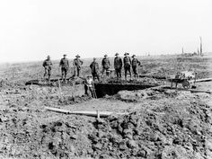 Australian soldiers laying the foundations for the First Division Memorial, Pozières, 1919