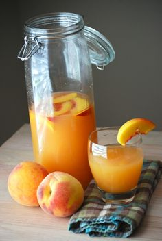 Peach Lemonade    Ingredients:  4 cups water  2 cups coarsely chopped peaches (approx. 3 to 4 peaches)  3/4 cup sugar  1 cup fresh lemon juice (juice of approx. 6 to 8 lemons)  1/4 to 1/2 cup additional water  4 cups ice  1 peach cut into 8 wedges, for garnish