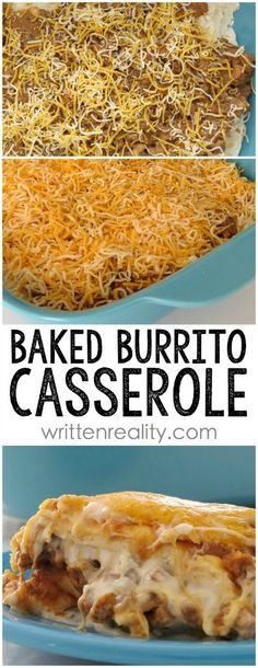 Baked Burrito Casserole ~ Super easy casserole with lots of flavor. Easily pairs with Spanish rice or cilantro lime rice. We also put salsa on it too for an extra kick. My oldest is pretty picky when it comes to casseroles and she went back for seconds!