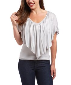 Another great find on #zulily! Gray Ruffle Scoop Neck Top #zulilyfinds