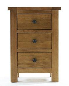 Ashover Solid Oak 3 Drawer Bedside Cabinet