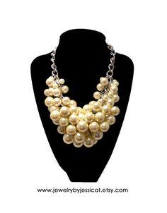 FRINGE Statement Necklace Ivory Bridal by JewelryByJessicaT