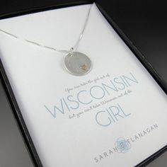 """Wisconsin Love Necklace. """"You can take the girl out of Wisconsin but you can't take Wisconsin out of the girl"""""""
