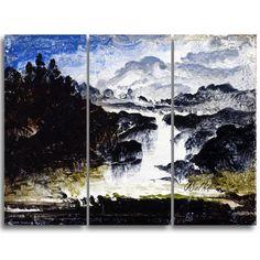 Design Art 'Peder Balke - A Waterfall' Art Print (36Wx28H - 12x28 x 3 Panel)