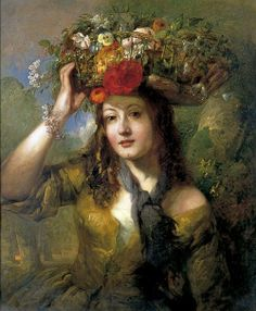 ⊰ Posing with Posies ⊱ paintings of women and flowers - William Etty