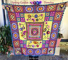 Afghan Crochet Patterns, Crochet Squares, Crochet Afghans, Granny Squares, Demelza, Crochet Instructions, Spring Garden, Crochet Projects, Diy Crafts