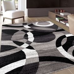 Contemporary Modern Circles Grey Area Abstract Rug (3'3 x 5') (105 Grey 3'3 x 5'), Black, Size 3'3 x 5'