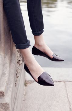 skinnies and pointy toe loafers