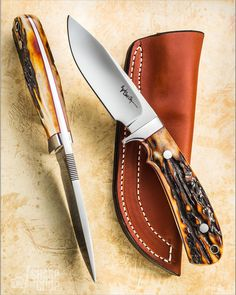 """EVERYTHING about this small hunter screams """"LOOK AT ME!"""" Carl Colson Knives (on Facebook, no IG) builds it well! I love the added finger…"""