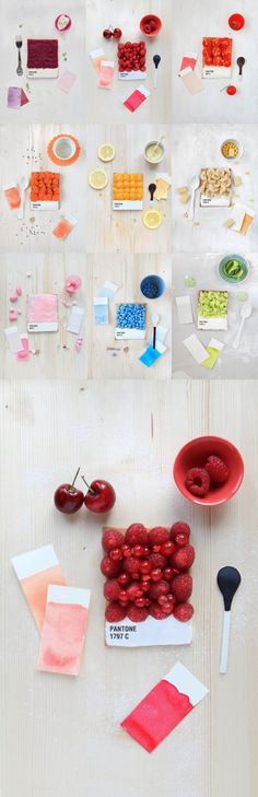 pantone. french food designer emilie de griottes developed dessert tarts that recreate pantone colour swatches. berries, carrots, lemon, candies, and other foods are arranged upon a tart base, whose bottom is iced in white and marked with the pantone colour represented. recipes for making the tarts are available in 'fricote' issue number 6 (2012).