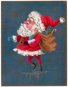 Vintage Greeting Card Christmas Santa Claus Unused B703 | eBay