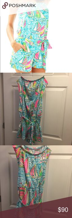 Lilly Pulitzer UGotta Regatta Romper Large Size large Lilly Pulitzer ritz strapless romper. Pop Up You Gotta Regatta Print! New with tags! From a smoke free home! I think this could also fit an XL or a medium depending on the type of fit you want! Lilly Pulitzer Dresses