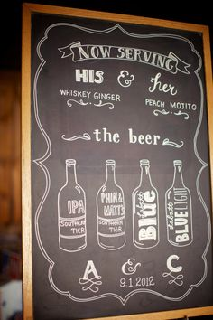 Wedding Chalkboard Sign: Mr and Mrs, Escort Seating Chart, Menu, Bar Drinks. $180.00, via Etsy.