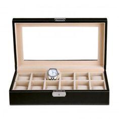 Uhrenbox für 12 Uhren Uhrenkoffer Uhrentruhe Uhrenkasten Uhrenschatulle JWB003