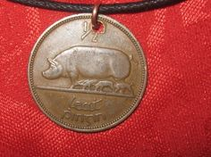 Authentic Ireland  Pig/Harp Coin  Pendant Necklace by fantazy007, $8.00