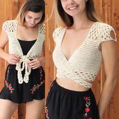 Crochet Top pattern PDF, Crochet pattern -ADORA- crochet top, crop top pattern, Wrap Crop top pattern, Bust size to Sizes S-M-L-XL Buy 3 patterns and get Crochet Bodycon Dresses, Black Crochet Dress, Crochet Halter Tops, Crochet Crop Top, Crochet Shirt, Débardeurs Au Crochet, Patron Crochet, Cropped Tops, Crochet Simple