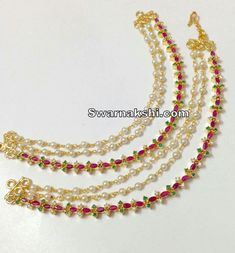 Champasaralu Pearl Necklace Designs, Gold Earrings Designs, Gold Jewellery Design, Ear Jewelry, Bridal Jewelry, Ear Chain, Gold Jewelry Simple, Schmuck Design, Jewelry Patterns