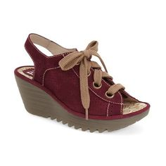 Women's Fly London 'Yuta' Platform Wedge Sandal ($180) ❤ liked on Polyvore featuring shoes, sandals, magenta leather, creeper shoes, leather slingback sandals, leather shoes, leather sandals and perforated leather shoes