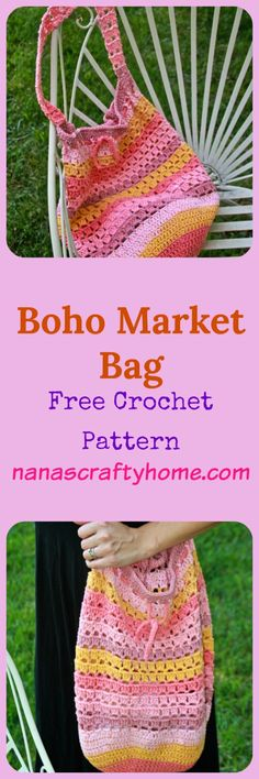 Boho Market Bag Crochet Pattern made with Caron Cotton Cakes