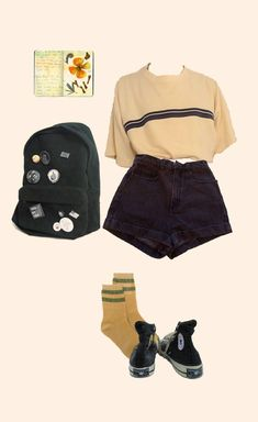 Ideas Fashion Hipster Casual Shorts For 2019 Grunge Outfits, Mode Outfits, Retro Outfits, Trendy Outfits, Vintage Outfits, Summer Outfits, Hipster School Outfits, Aesthetic Fashion, Aesthetic Clothes
