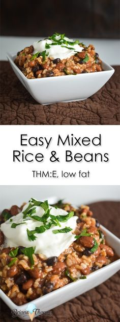 This Easy Mixed Rice and Beans recipe is a great thing to keep on hand for lunches throughout the week! Budget friendly, THM:E, low fat