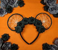 Your place to buy and sell all things handmade - Spiderweb Disney Ears, Spider Mickey Ears, Spiderweb Minnie Ears, Halloween Flower Mouse Ears, Hallo - Disney Diy, Diy Disney Ears, Disney Mickey Ears, Disney Crafts, Walt Disney, Diy Mickey Mouse Ears, Minnie Mouse Costume, Halloween Flowers, Diy Halloween Decorations