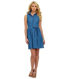 Kensie blue dot a-line dress