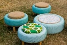 Wonderfull Reuse Old Cars Tire Furniture, Pallet Garden Furniture, Recycled Furniture, Furniture Design, Reuse Old Tires, Reuse Recycle, Painted Tires, Pallet Kids, Diy Stool