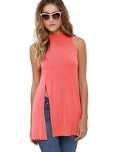 High Slit Sleeveless Long Shirts Women Loose Polyester Cotton Pink Blouse Black Green Gray 4 Color Fashion Casual Shirt Women