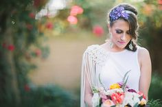 Orchid flower crown. Unique dress sleeves. Bohemian macrame wedding inspiration. Let's Frolic Together photography. Venue: The Slate Barn & Gardens Vista, California